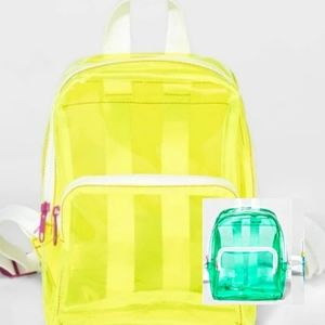 CAT & JACK YELLOW & GREEN JELLY PLASTIC BACKPACK